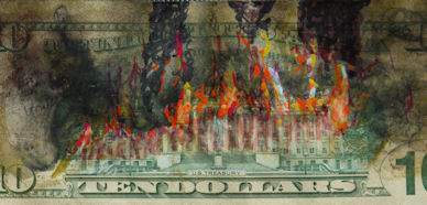 Fire illustration on a ten dollar bill